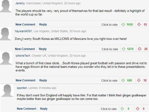 英國《每日郵報》今日報導了南韓世足國家隊回國之後慘遭「蛋洗」的畫面,但英國的網友似乎不能理解南韓民眾的反應,在評論留言區裡出現許多批評南韓民眾的聲音。(圖翻攝自英國《每日郵報》留言)