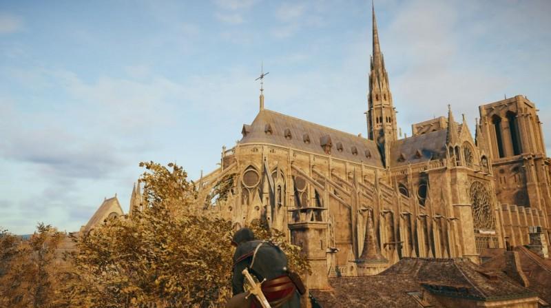 遊戲《刺客教條:大革命》中,鉅細靡遺地重現了法國大革命時期的街景,其中也包含聖母院。(圖擷取自Twitter)
