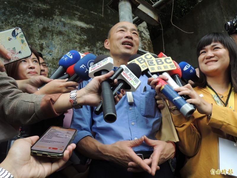高雄市長韓國瑜(見圖)被網友質疑辯論能力不足,他今回應說,這說法代表他的注意力都在高雄。(記者王榮祥攝)