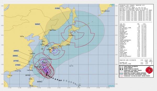 美軍對潭美颱風發布參考警告,台灣局部地區有可能出現秒速13.9公尺至17.1公尺的危險性疾風。(圖擷取自JTWC)