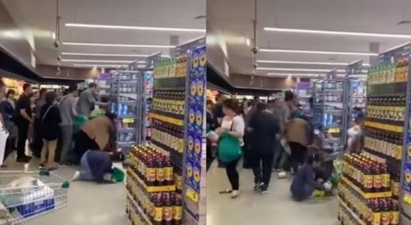 日前網路上流傳一段澳洲搶購奶粉造成推擠的事件。(圖擷自Youtube)