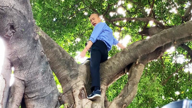 韓國瑜今天巡視登革熱疫區,爬到樹上要求補洞防蚊。(記者黃旭磊攝)