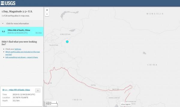 新疆今天中午發生芮氏規模5.3極淺層強震。(擷取自USGS)