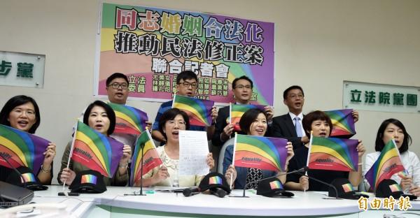 民進黨立委今(24)日上午召開記者會,力挺同志婚姻合法化,宣布將正式推動《民法》的修法。(記者簡榮豐攝)