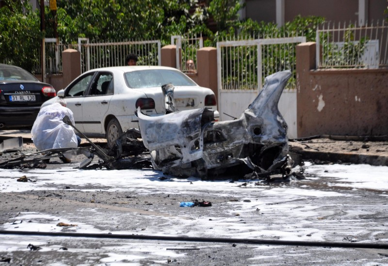 雷伊漢勒(Reyhanli)昨日傳出汽車爆炸案,造成3人死亡。(歐新社)