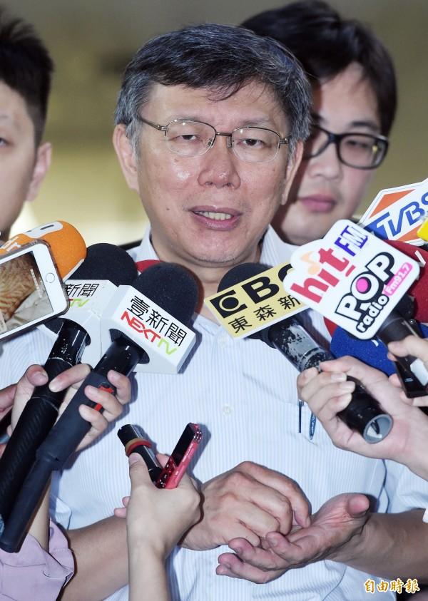 台北市長柯文哲4日接受媒體聯訪。(記者廖振輝攝)