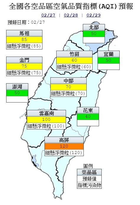 空品方面,明天受東北季風增強影響,中部以北位於迎風面,擴散條件較佳;雲嘉南以南空品區位於下風處,污染物易累積。(圖擷取自環保署空氣品質監測網)