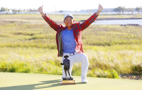 Pan Cheng-tsung celebrates with his trophy after winning the RBC Heritage golf tournament at Harbour Town Golf Links on Hilton Head Island, South Carolina, on Sunday. Photo: AP