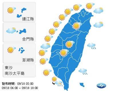 今天各地天氣晴朗穩定。(圖擷自中央氣象局)