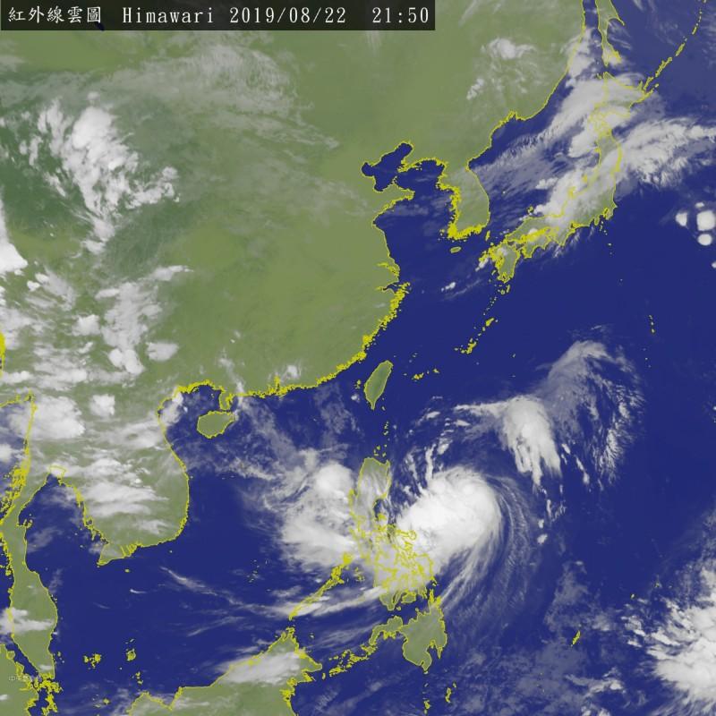 白鹿颱風今晚9點50分衛星雲圖。(擷取自中央氣象局網站)