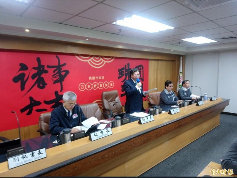 桃園市長鄭文燦在市政會議宣布與中華電投資的亞矽創研中心破局,市府收回自辦。(記者謝武雄攝)