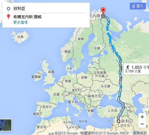 敘利亞難民若要從挪威進入歐洲,必須走上五千多公里的距離。(圖擷取自Google maps)