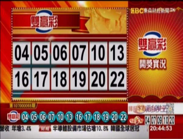 雙贏彩開獎號碼。(圖擷取自東森財經新聞)