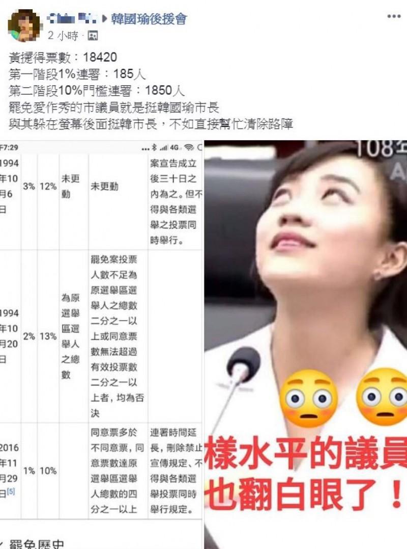韓粉在臉書不公開社團「韓國瑜後援會」中發文,揚言要韓粉站出來為市長「清路障」,卻搞錯選罷法糗大了。(圖擷自臉書韓國瑜後援會)