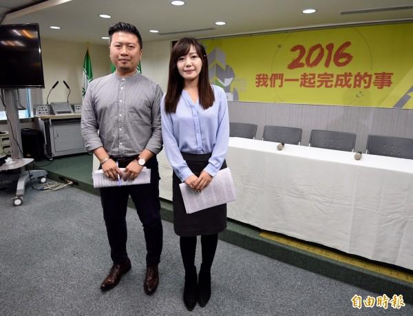 民進黨新任發言人張志豪(左)、吳沛憶(右)。(記者羅沛德攝)