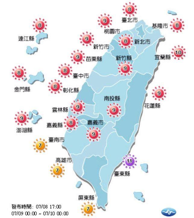 紫外線方面,各地指數為高量級(黃)、過量級(紅)及危險級(紫),大家外出請注意防曬並多補充水分。(圖取自中央氣象局)