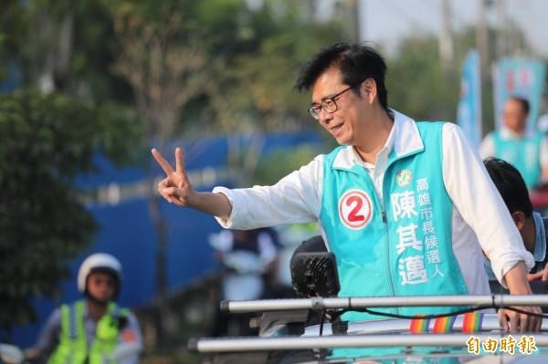 民進黨高雄市長候選人陳其邁掃街拜票。(資料照)