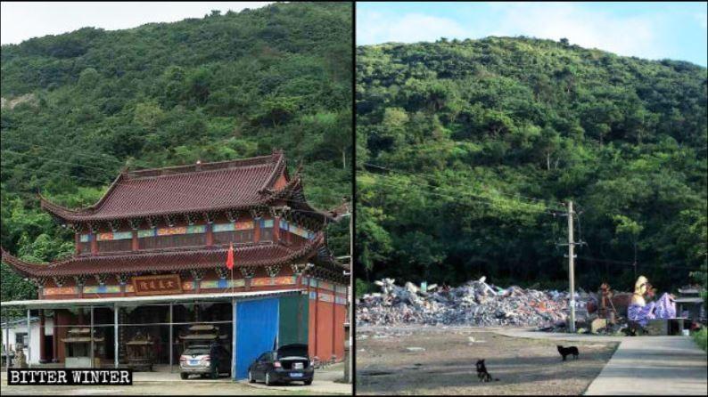 中共以「違建」為由強拆寺廟、道觀,讓信徒無家可歸。(圖擷自寒冬)