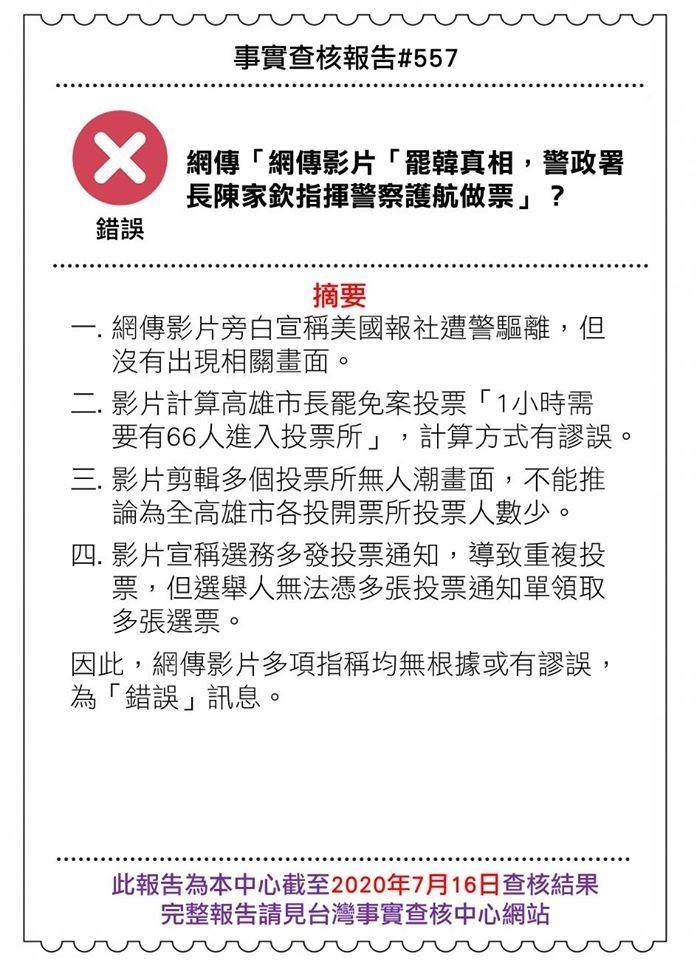近期網路上流傳影片自稱「罷韓真相」,誣指警政署長陳家欽指揮警察護航做票,其中混有多段新聞畫面,還聲稱美國有報社聽聞台灣做票猖獗特派記者到台灣採訪卻被警察干涉。經「事實查核中心」查核後,影片內容都不符合事實,為錯誤訊息。(圖擷自台灣事實查核中心)