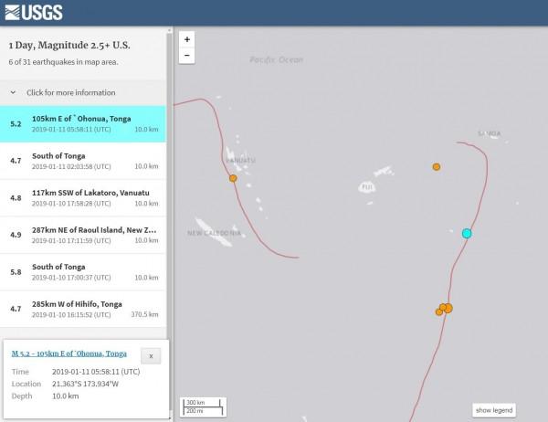 南太平洋島國東加王國近海於台灣時間下午將近2點時發生芮氏規模5.2強震。(圖擷取自USGS)