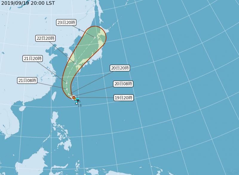 輕颱「塔巴」的路徑潛勢預測圖。(圖擷取自中央氣象局)