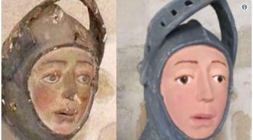 经过修复的圣乔治木雕让西班牙官员相当崩溃。(图截自推特)