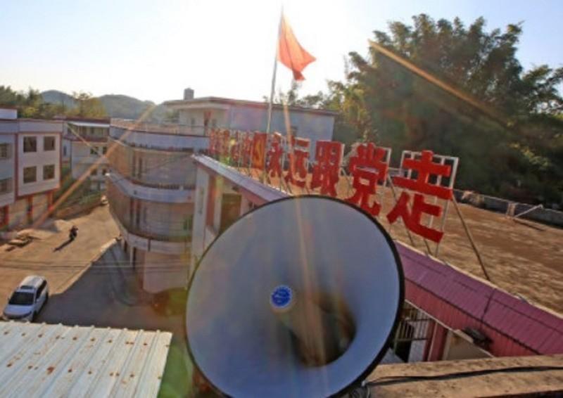 中國官方被外國媒體發現,在去年出具的1份報告中,提到聲波加農砲應用民間。圖為中國的擴音喇叭。(圖擷取自微博)
