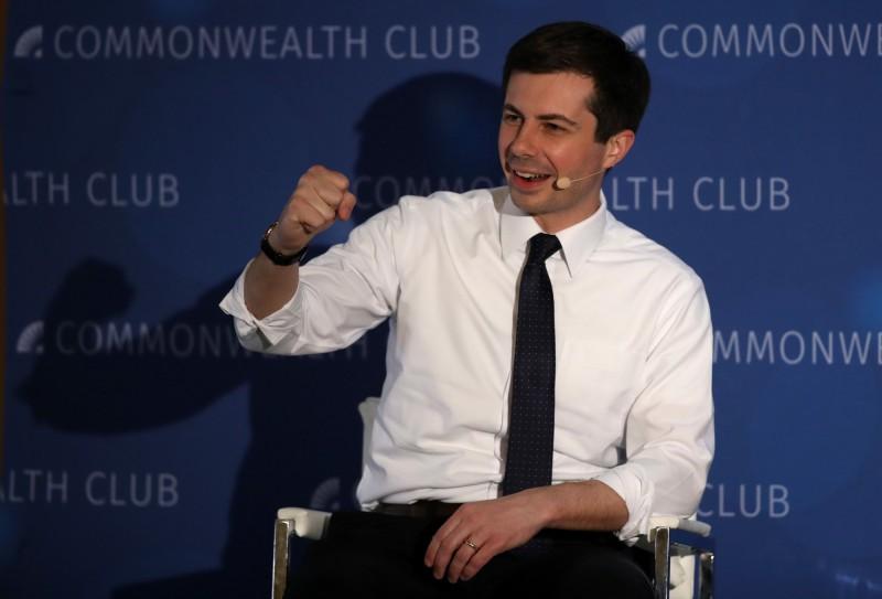 美國民主黨總統初選參選人巴提吉格(Pete Buttigieg)聲勢水漲船高。(法新社)