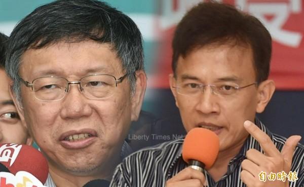 台北市長柯文哲遭爆料與政論節目主持人彭文正用LINE互嗆,彭文正今天在節目中指控,洩漏對話內容的就是柯文哲本人。(本報合成,左:記者廖振輝攝,右:記者簡榮豐攝)