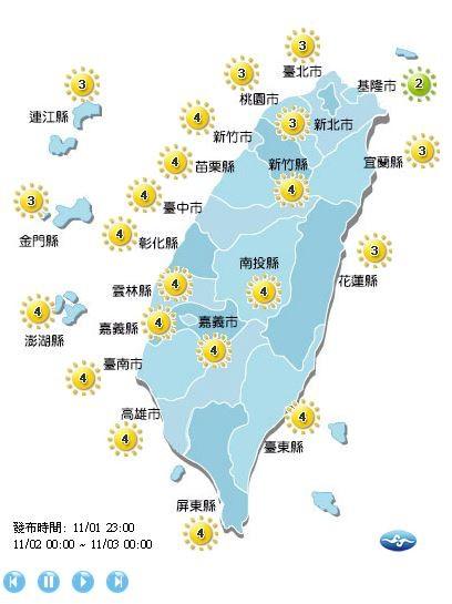 紫外線方面,除基隆市為低量級,其餘地區皆為中量級。(圖擷取自中央氣象局)