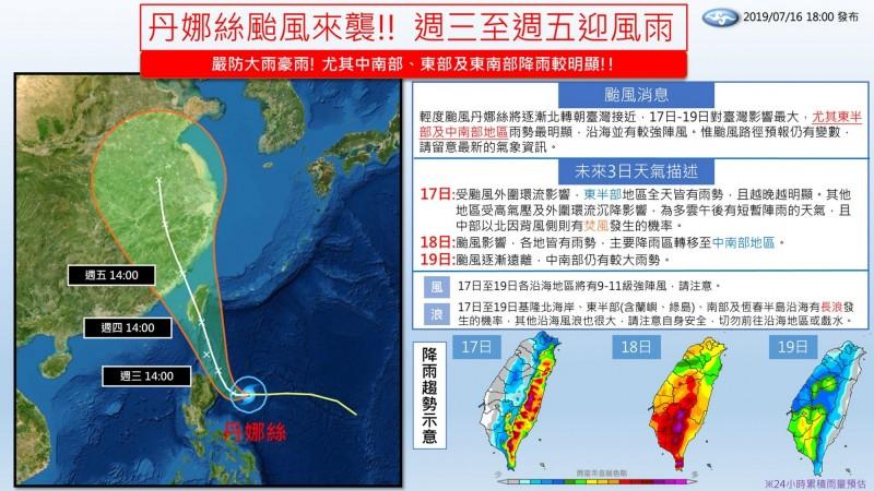 氣象局也在官方臉書「報天氣 - 中央氣象局」貼出一張未來3日天氣資訊圖,指出丹娜絲的路徑預報目前雖還有些分歧,不過大致上就是直接「經過」台灣本島。(圖擷取自臉書「報天氣 - 中央氣象局」)