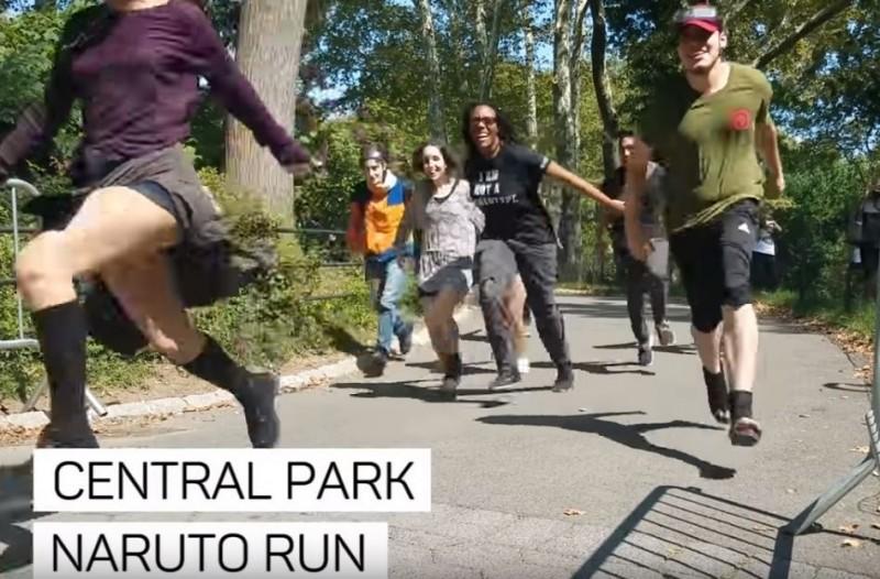 自從有網友發起用「火影跑」衝入51區行動後,這種跑姿就在美國引起風潮。(圖擷自CNET Youtube)