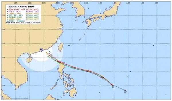 各國氣象單位對於海馬颱風的路徑往南修正,預期北轉的時間點也往後延,未來通過呂宋島後,海馬颱風在南海北轉的時間與角度,將關係到對台灣天氣影響大小。(圖擷自「Typhoon2000」)