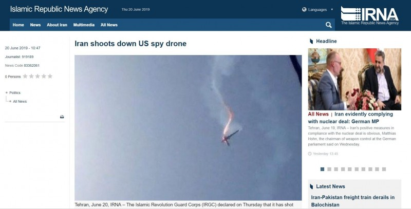 伊朗官媒公布擊落美無人機畫面。(圖擷自IRNA伊通社)