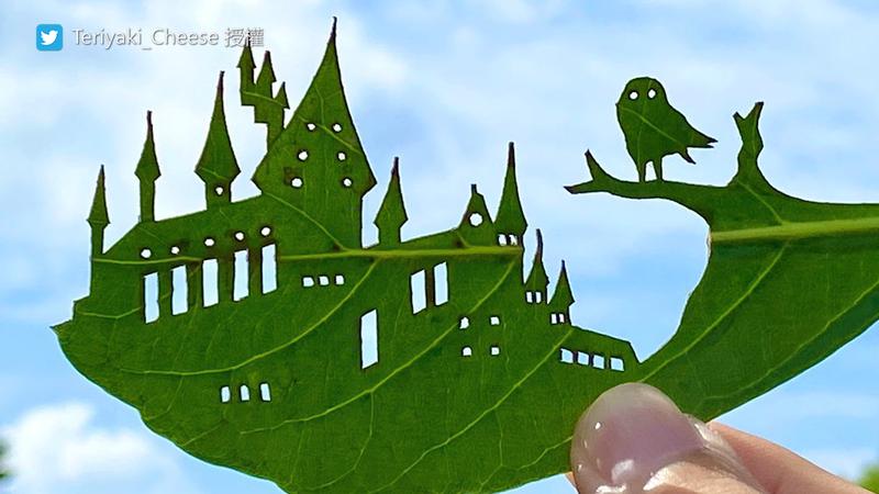 葉子雕刻的靈感來源是生活所見所聞。(圖片由Twitter帳號Teriyaki_Cheese授權提供使用)