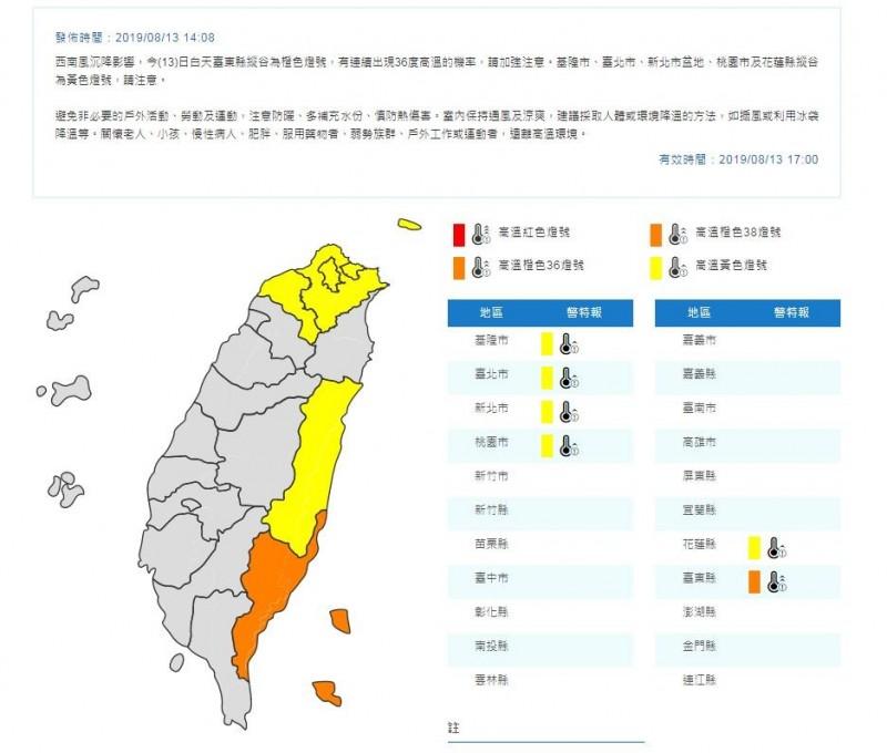 中央氣象局今日下午2時8分,針對基隆市、台北市、新北市、桃園市、花蓮縣與台東縣發布高溫警示。(圖翻攝自中央氣象局官網)