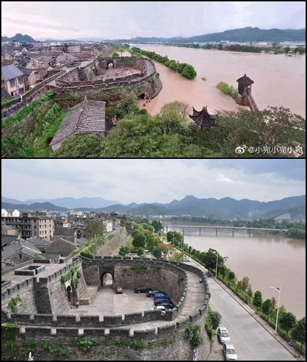 浙江台州的臨海古城因為靈江倒灌,水淹城區(上圖),下圖為未淹水前的景色。(擷取自微博、維基百科)