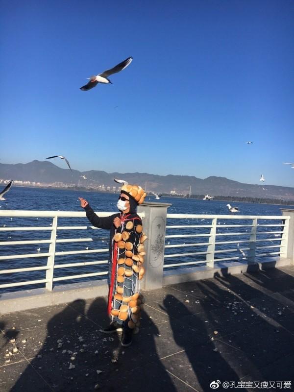 雖然麵包哥努力發散「有麵包快來吃」的氣場,但卻不受海鷗青睞。(圖擷取自微博)
