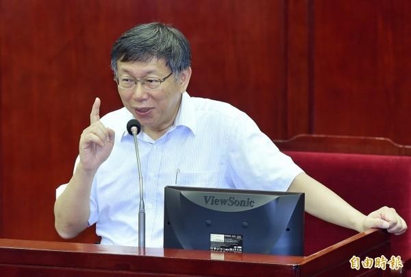 台北市長柯文哲6日列席市議會市政總質詢及答覆。(記者廖振輝攝)