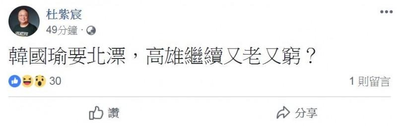 杜紫宸(圖右)在臉書表示,「韓國瑜要北漂,高雄繼續又老又窮?」(圖擷取自杜紫宸臉書)