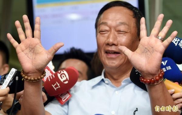 郭台銘表態參加國民黨總統初選,引發廣大韓粉不滿。(資料照)