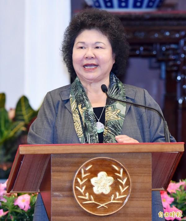 總統府秘書長陳菊在電視專訪中,被問到是否參選台北市長,她說,「我沒有這樣的一個準備,並說,希望民進黨創造第三個可能,不是台北市長柯文哲、也不是丁守中。(資料照)
