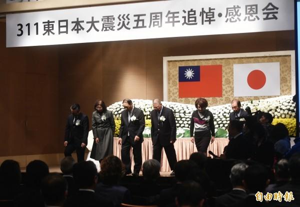 「311東日本大震災追悼感恩會」11日在台北國賓飯店舉行。(資料照,記者方賓照攝)