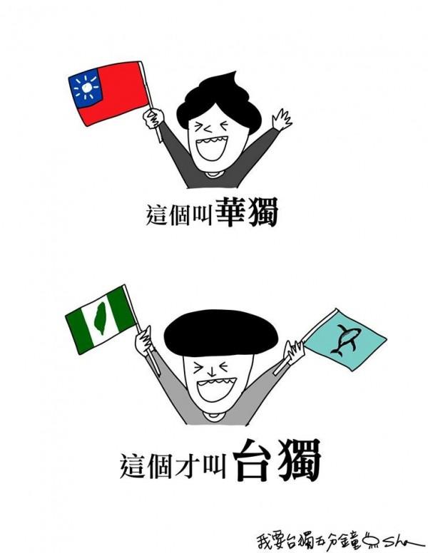 「我要討厭你五分鐘」臉書貼出分辨「華獨」與「台獨」的差異圖,代表「華獨」的人偶手持「青天白日滿地紅」旗幟;代表「台獨」的人偶則手持台灣綠地旗,和台獨的鯨魚旗。(圖片取自「我要討厭你五分鐘」臉書)