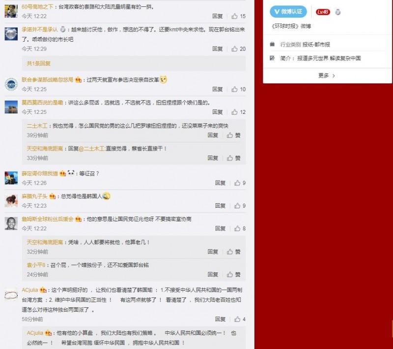 許多中國網友認為韓國瑜就是想要黨內徵召。(圖擷取自微博)