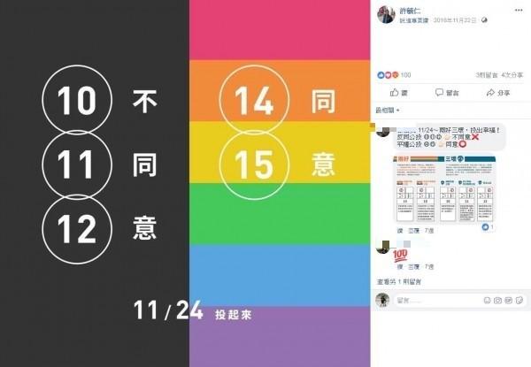 許毓仁除了走上街頭參與同志遊行,也時常在個人臉書分享兩性平權資訊。(圖擷取自許毓仁臉書)