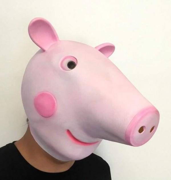 近日一名男網友為了討「姪女」歡心,特地買了佩佩豬面具,沒想到「姪女」當場秒哭。(圖取自臉書社團「爆廢公社」)