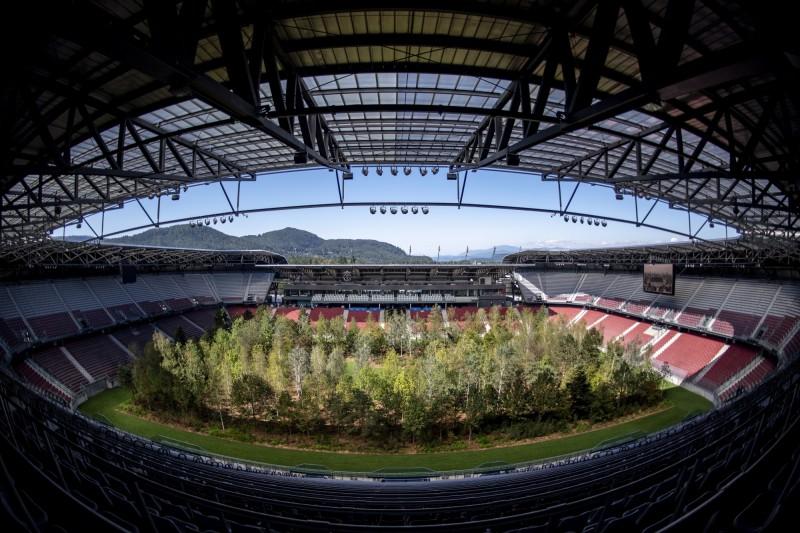 瑞士藝術家為了呼籲人類關注氣候及環境等議題,將299棵樹「種到」奧地利一處足球場內。(歐新社)
