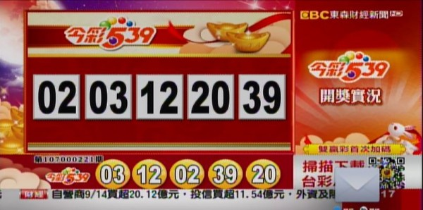 今彩539、39樂合彩開獎號碼。(翻攝自東森財經新聞)