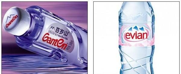 有網友認為「景田百歲山」的設計,與法國礦泉水品牌「依雲」十分雷同。(圖擷取自每日郵報)